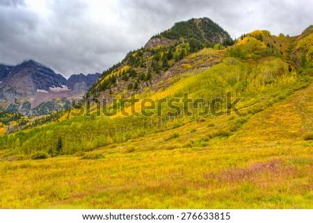 Autumn mountain  landscape on a cloudy day. Colorado, USA - stock photo