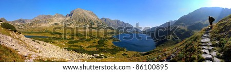 Autumn Mountain panorama in High West Tatras - stock photo