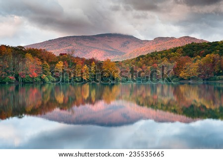 Autumn Mountain Reflections North Carolina Grandfather Mountain Price Lake Blue Ridge Parkway Attraction - stock photo