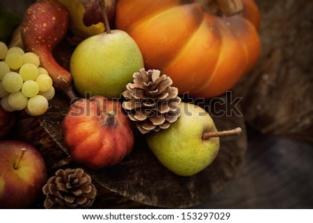 Autumn nature. Fall fruit on wood. Thanksgiving. Pumpkins, apples,grapes, courgettes and pears - stock photo