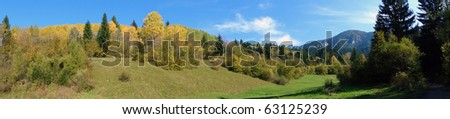 Autumn Nature, forest and mountain panorama - stock photo