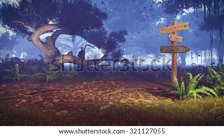 Autumn night forest with old wooden signpost on foreground and with silhouette of a grim reaper in the distance. Realistic 3D illustration was done from my own 3D rendering file. - stock photo
