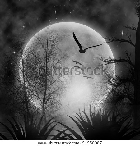 autumn night with full moon - stock photo