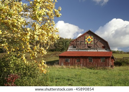 Autumn North Carolina Barn with Barn Quilt Horizontal with Copy Space - stock photo