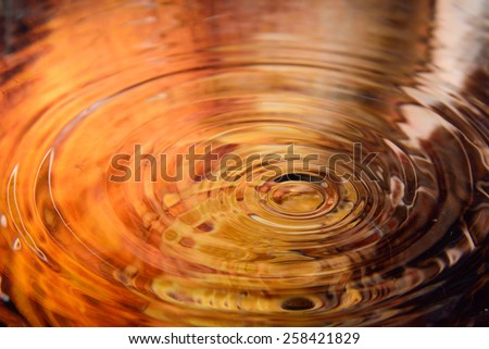 autumn of water reflection and water drop for background  - stock photo