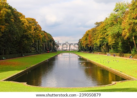 Autumn old city Benrath Park landscape - Germany,Dusseldorf - stock photo