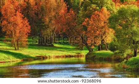 Autumn on a Lake - stock photo
