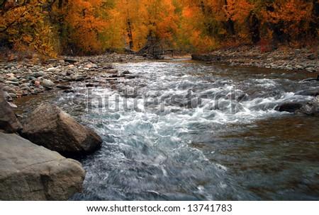 Autumn on the Big Wood River, Idaho - stock photo
