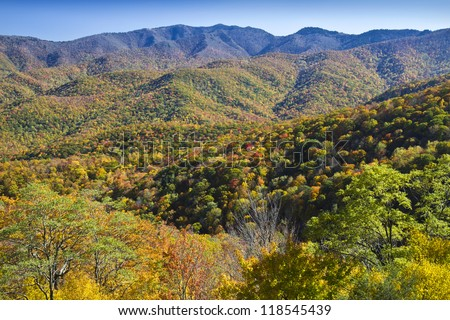 Autumn on the Blue Ridge Parkway Mountains - stock photo