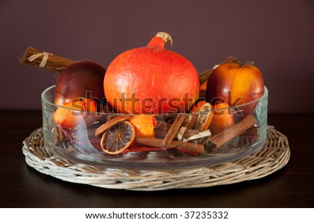 Autumn or fall decoration in a warm home environment - stock photo