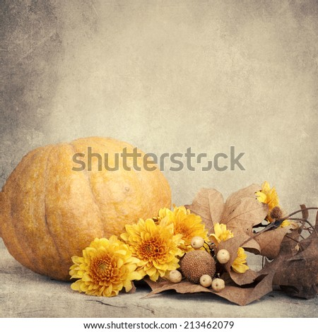 Autumn or Thanksgiving Bouquet with pumpkins and leaves