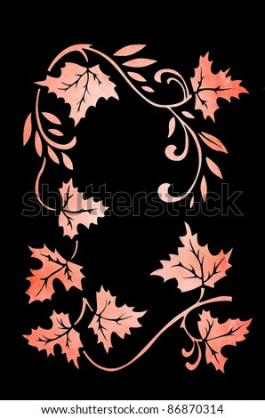 autumn ornament on black background - stock photo