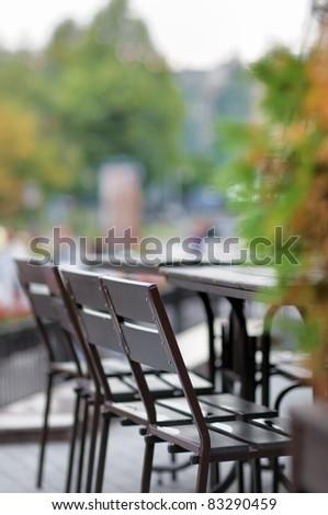 Autumn outdoor cafe - stock photo
