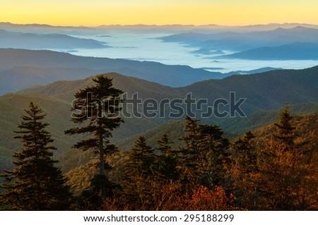 Autumn Overlook of Great Smokey Mountains - stock photo