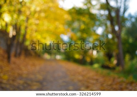 Autumn park with a path with fallen leaves de-focused. Blurred background - stock photo