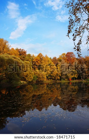 Autumn park with pond reflection