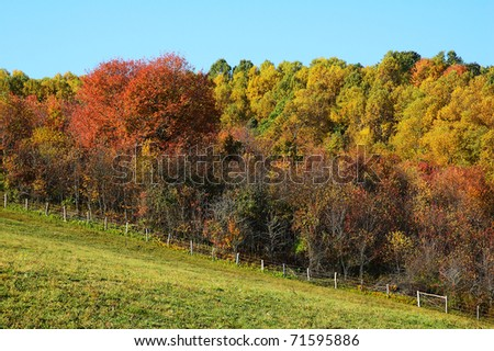 Autumn, pasture field and fence, Webster County, West Virginia, USA - stock photo