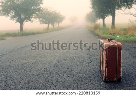 Autumn path through a golden road with fog and suitcase - stock photo