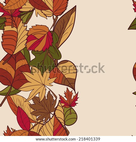 Autumn pattern. Pattern of autumn leaves. Red, yellow and green leaves of forest trees. Seamless Border.  Use as a background of the web page. Arrange on top of the text. Use as a greeting card. - stock photo
