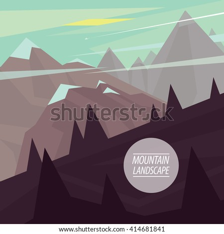 Autumn picturesque mountain landscape with steep ascents and descents and snowy peaks, in the fashionable flat style and square ratio. Raster version of illustration - stock photo