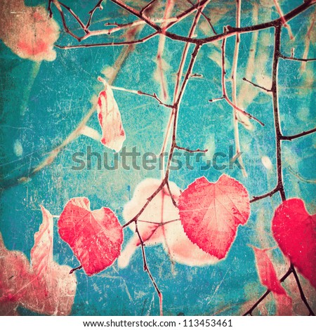 Autumn Pink Heart Leafs on blue textured sky - stock photo