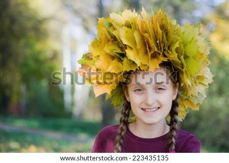autumn portrait of a little girl  - stock photo