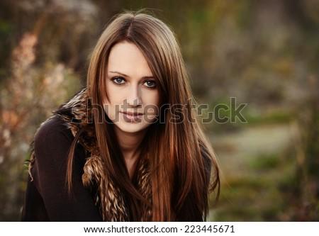 Autumn portrait of beautiful caucaisan girl - stock photo