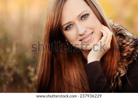 Autumn portrait of beautiful caucasian girl