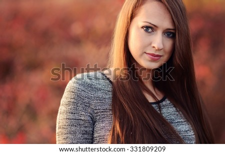 Autumn portrait of beautiful caucasian girl - stock photo