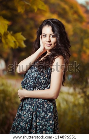 Autumn portrait of beautiful indian young girls - stock photo