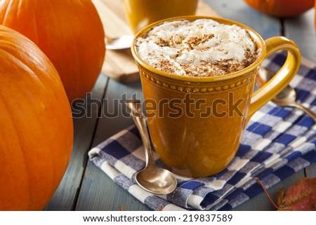 Autumn Pumpkin Spice Latte with Milk and Cream - stock photo