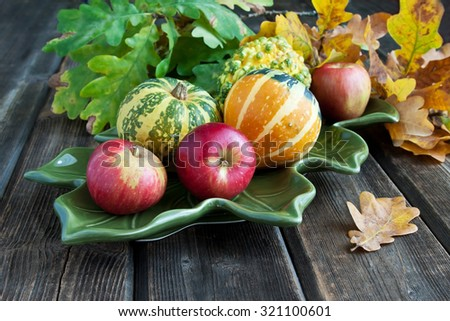 Autumn pumpkins with leaves  - stock photo