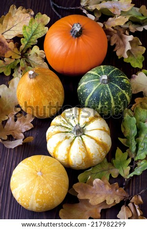 Autumn pumpkins with leaves on wooden board - stock photo