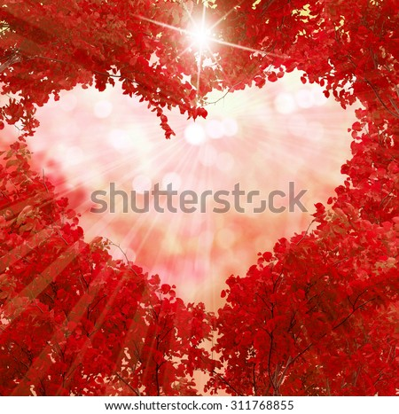 Autumn red leaves  in the shape of a heart - stock photo