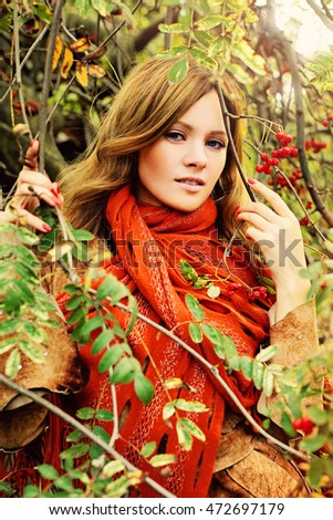 Autumn Redhead Woman Outdoors