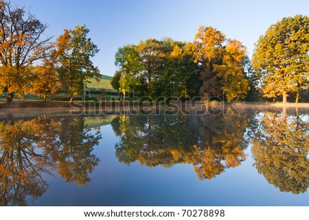 Autumn reflection on the pond in Czech Republic