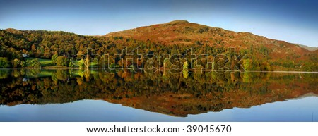 Autumn reflections at Grasmere - stock photo