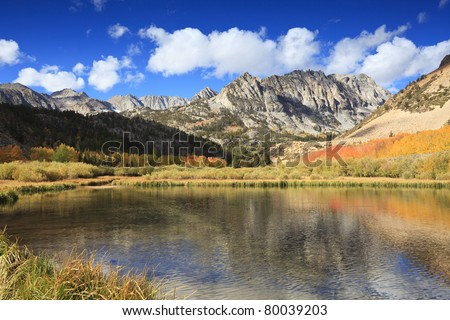 Autumn reflections at North Lake in Sierra Nevada mountains, California