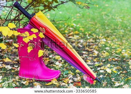 Autumn. Rubber boots and colorful umbrella are on the grass with autumnal leaves. A pair of pink rainboots near autumnal tree. Protection in the rain. Copy space. Activity, leisure, travel concept. - stock photo