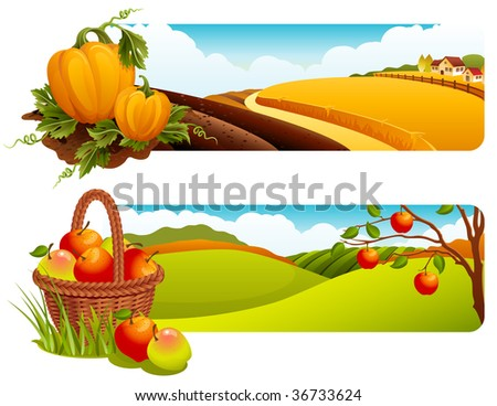 Autumn rural landscape banners- raster version - stock photo