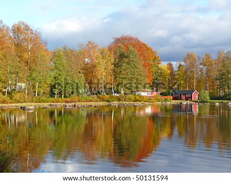 Autumn's mirror landscape - stock photo
