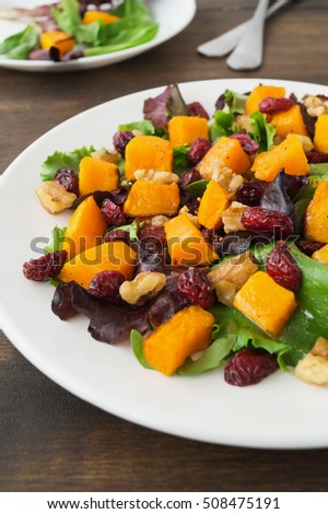 Autumn salad with roasted butternut squash, cranberry and walnuts on white plate. Warm fall salad, selective focus, vertical