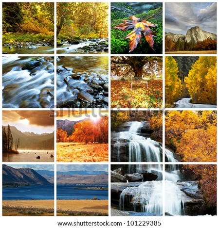 autumn scene collages - stock photo