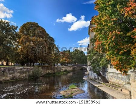 Autumn scene in a city - stock photo