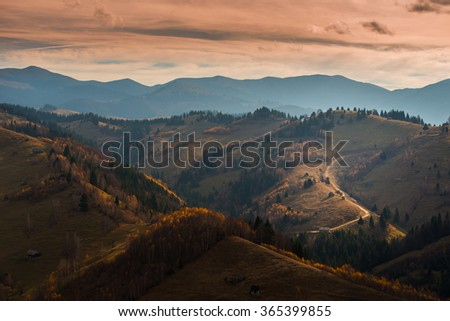 Autumn scenery in remote rural area in Transylvania - stock photo