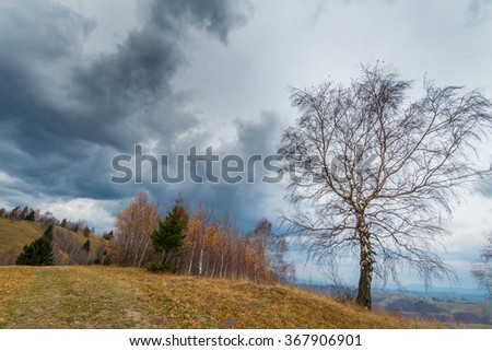 Autumn scenery in remote rural area in Transylvania and dramatic cloudy sky  - stock photo