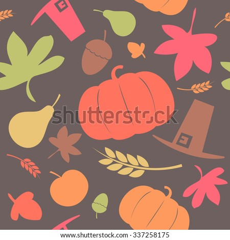 Autumn seamless background, Thanksgiving day, rasterized version. - stock photo