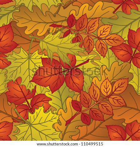 Autumn seamless nature background with leaves of different plants, red, orange and yellow