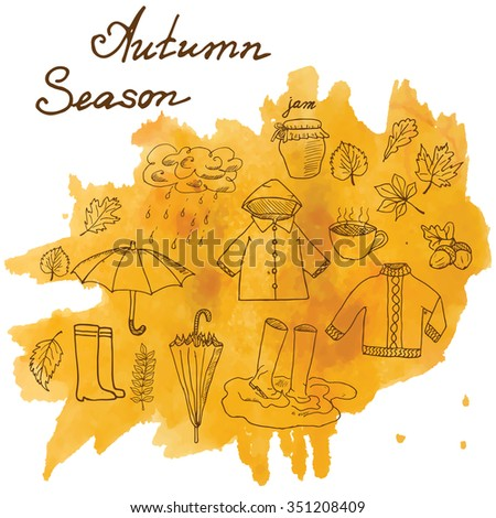 Autumn season set doodles elements. Hand drawn set with umbrella cup of hot tea, rain, rubber boots, clothes and leaves collection. Drawing doodle collection, on on watercolor stain. - stock photo