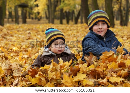 Autumn sibling -  6 years old child  and 2 years old baby boyl in autumn leaves in a park. - stock photo